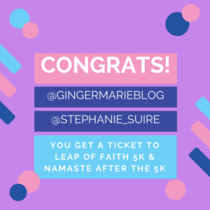 leap of faith 5K giveaway winners